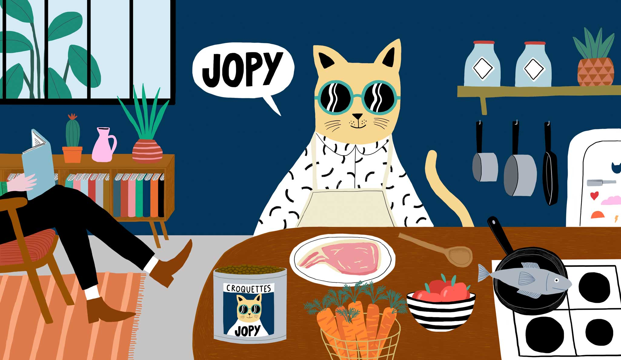 Illustration chat Jopy meilleures croquette chat